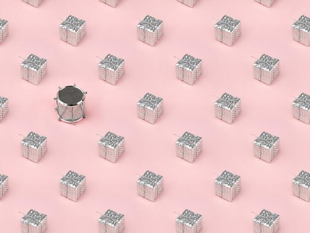 Modèle sans couture isométrique de noël, coffrets cadeaux en argent emballés et tambour jouet. concept minimal de mise à plat. papier d'emballage du nouvel an.