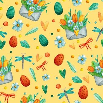 Modèle sans couture avec de jolies illustrations aquarelles de pâques.
