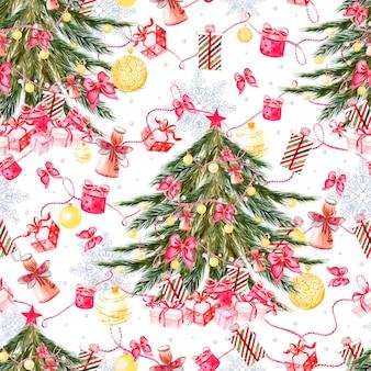 Modèle sans couture joyeux noël peint à la main avec arbre de noël aquarelle, boules de couleurs jaunes, cloches, arcs, coffrets cadeaux, bonbons, étoiles, bottes et mitaines. décoration du nouvel an. illustration