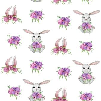 Modèle sans couture de lapin, lapin aquarelle