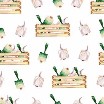 Modèle sans couture de légumes bio jardin aquarelle et boîte en bois.