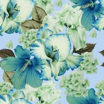 Modèle sans couture lumineux avec des fleurs. hibiscus. iris. glaïeul. illustration à l'aquarelle. dessiné à la main.
