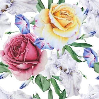 Modèle sans couture lumineux avec des fleurs. rose. iris. illustration à l'aquarelle. dessiné à la main.