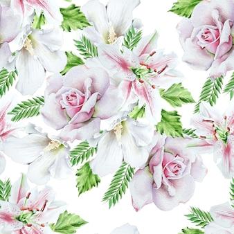 Modèle sans couture lumineux avec des fleurs. rose. lis. illustration à l'aquarelle. dessiné à la main.