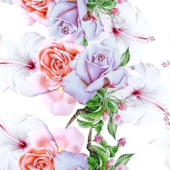Modèle sans couture lumineux avec des fleurs
