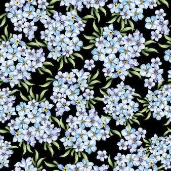 Modèle sans couture de mariage aquarelle élégance avec des fleurs bleues de printemps.