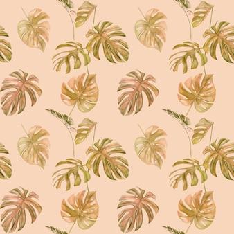 Modèle sans couture de monstera feuille tropicale