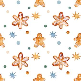 Modèle sans couture de noël aquarelle avec étoiles en pain d'épice et flocons de neige