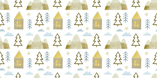 Modèle sans couture de noël aquarelle fond de vacances joyeux nouvel an