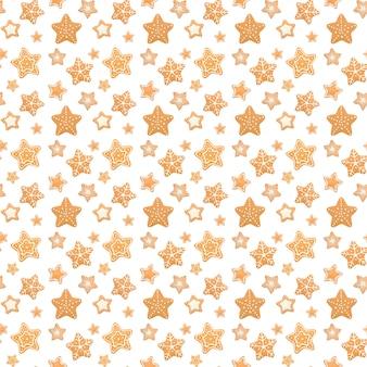 Modèle sans couture de noël des biscuits de pain d'épice sur la surface blanche