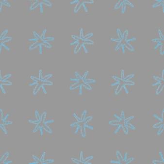 Modèle sans couture de noël de flocons de neige dessinés à la main. flocons de neige volants subtils sur fond de flocons de craie. adorable superposition de neige dessinée à la main à la craie. décoration audacieuse des fêtes de fin d'année.