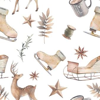 Modèle sans couture nordique aquarelle. articles de noël dessinés à la main sur fond blanc: cerf, étoile d'anis, tasse de cacao, traîneau, plantes. texture de style scandinave