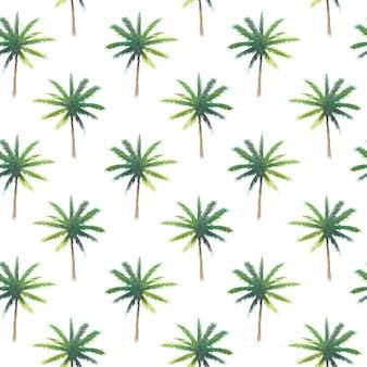 Modèle sans couture de palmier aquarelle peinture main