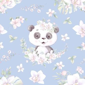 Modèle sans couture. panda de dessin animé mignon avec des fleurs et des ballons.