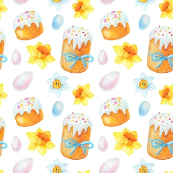 Modèle sans couture de pâques aquarelle avec fleurs de printemps, oeufs, gâteau.