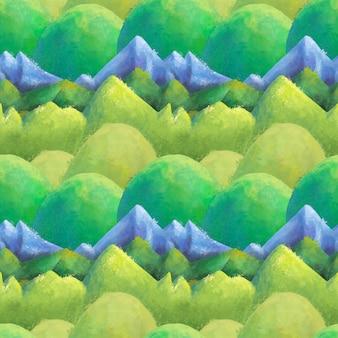 Modèle sans couture de paysage aquarelle montagnes