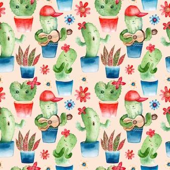 Modèle sans couture avec des personnages de cactus aquarelle
