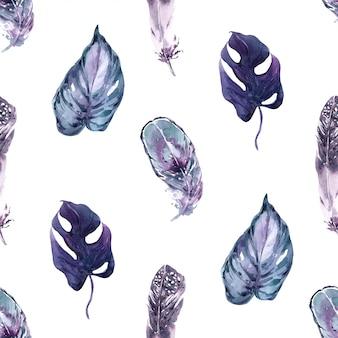 Modèle sans couture plumes d'oiseaux exotiques