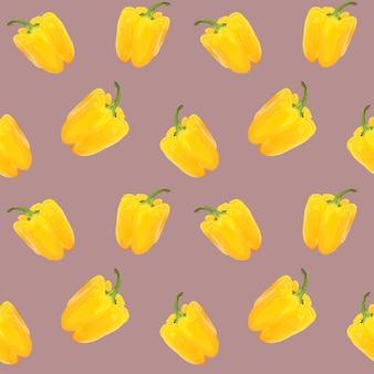 Modèle sans couture de poivron. poivrons jaunes sur fond marron clair.