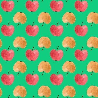 Modèle sans couture avec des pommes aquarelles rouges et jaunes.