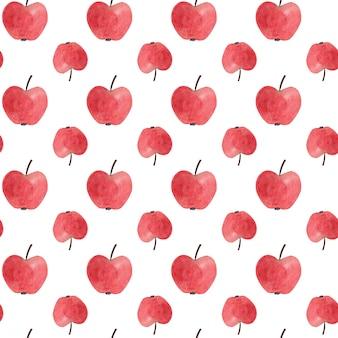 Modèle sans couture avec des pommes aquarelles rouges.