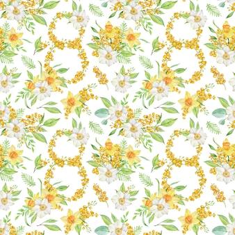 Modèle sans couture de printemps aquarelle avec jonquilles et branches de mimosa. numéro huit