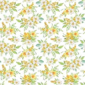 Modèle sans couture de printemps aquarelle avec jonquilles et branches de mimosa