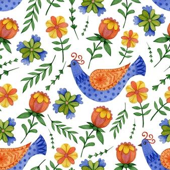 Modèle sans couture de printemps mignon dans les oiseaux de pâques d'art populaire
