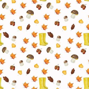 Modèle sans couture représentant des bottes en caoutchouc et des feuilles jaunes