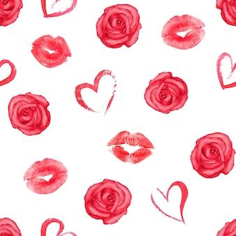 Modèle sans couture romantique avec des coeurs, des roses et des traces de rouge à lèvres sur une surface blanche