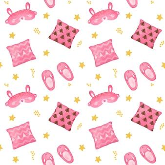 Modèle sans couture rose de filles, papier peint de nuit, sommeil, conception de maison confortable, fond de coucher, modèle de bonne nuit, papier d'emballage