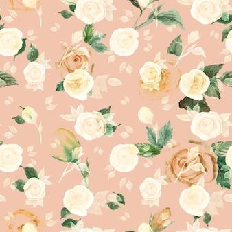 Modèle sans couture de roses de couleur beige