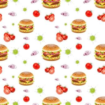 Un modèle sans couture de savoureux hamburgers isolé sur fond blanc