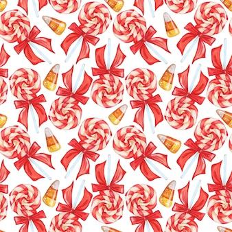 Modèle sans couture avec sucettes et bonbons caramels sucette regroupée dans une spirale tricolore