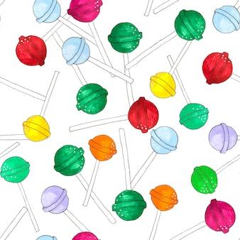 Modèle sans couture de sucettes en forme de sphère sur blanc. chupa chups bonbons.
