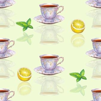 Modèle sans couture avec des tasses à thé en porcelaine dessinées à la main à l'aquarelle, des feuilles de citron et de menthe sur une surface vert clair
