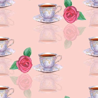Modèle sans couture avec des tasses à thé en porcelaine dessinées à la main à l'aquarelle et des roses sur une surface rose clair