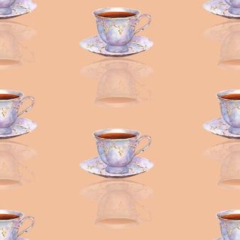 Modèle sans couture avec des tasses à thé en porcelaine dessinées à la main à l'aquarelle sur une surface crème