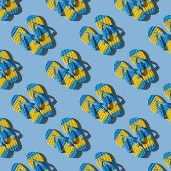 Modèle sans couture de tongs jaunes et bleues