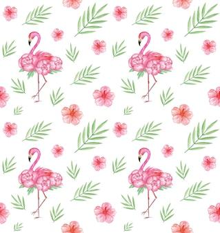 Modèle sans couture tropical aquarelle dessiné main, flamants roses, fond d'été, impression textile