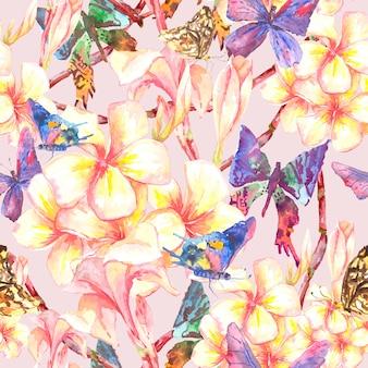 Modèle sans couture tropical avec des fleurs exotiques