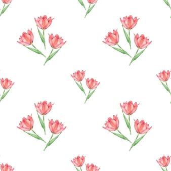 Modèle sans couture de tulipe dessiné main texture transparente de fleurs aquarelle isolé sur fond blanc