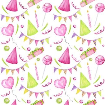 Modèle sans couture de vacances avec des bonbons colorés, cupcake, ballon, cadeau, confettis, étoile, casquette de carnaval. joyeux anniversaire ou carte de voeux de fête, scrapbooking, tissu, texture, concept de papier cadeau.