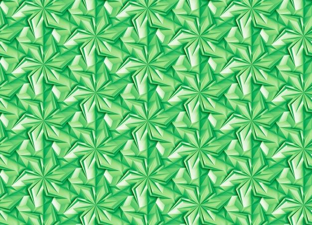 Modèle sans couture vert géométrique avec éléments en rotation - pétales, basé sur une grille hexagonale