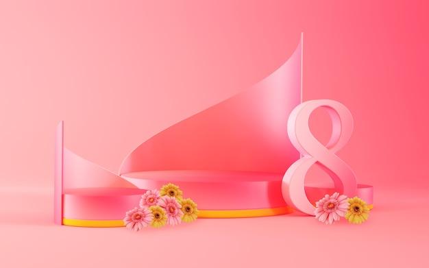 Modèle de scène de podium journée internationale de la femme avec nombre et rendu 3d de fleurs