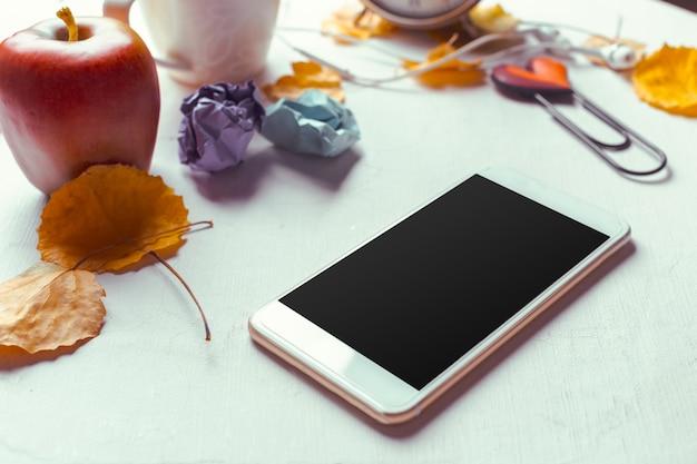 Modèle de smartphone vue de dessus avec écran noir