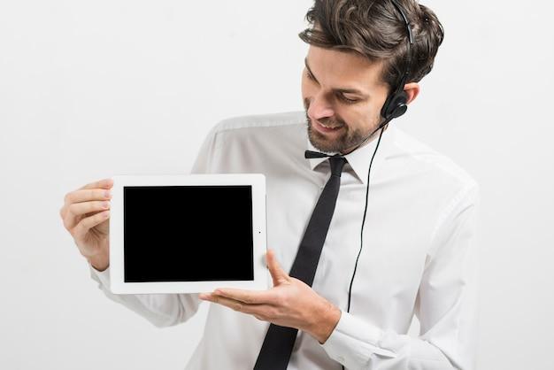Modèle de tablette de présentation d'agent de centre d'appels
