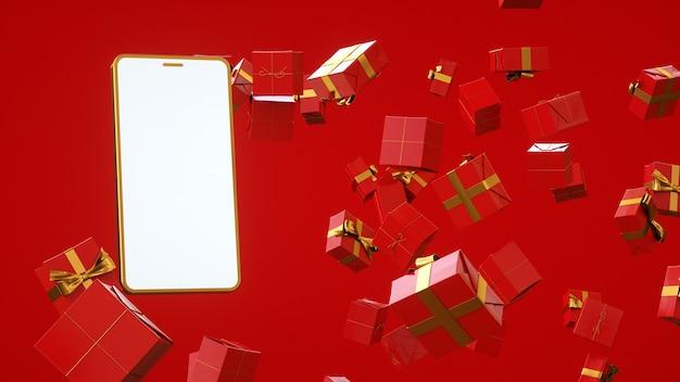 Modèle avec un téléphone doré et des pararkas pour les achats en ligne, le rendu 3d des affaires en ligne