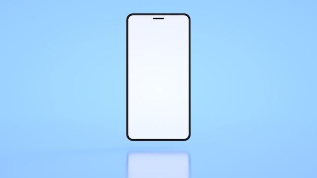Modèle de téléphone avec un écran blanc sur fond bleu rendu 3d