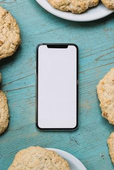 Modèle de téléphone portable vue de dessus